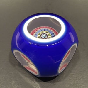 Murano Faceted Double Overlay Concentric Millefiori Art Glass Paperweight