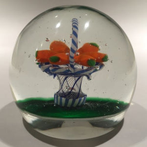 Vintage Murano Art Glass Paperweight Encased Latticino Basket Of Carrots