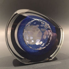 Signed Paul Harrie Art Glass Paperweight Faceted Concentric Rings Disk Sculpture