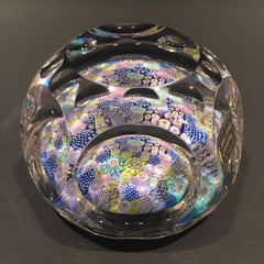 Vintage Whitefriars Art Glass Paperweight Faceted complex Millefiori Closepack