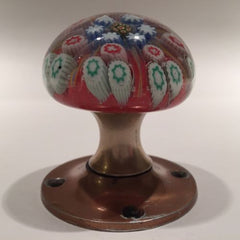Vintage Strathearn Art Glass Paperweight Doorknob Twists & Millefiori On Orange