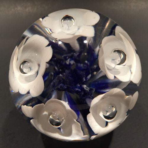 Vintage American Studio Art Glass Paperweight White Trumpet Flowers