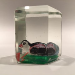 Early Chinese Faceted Art Glass Paperweight Sulphide Painted Duck