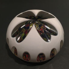 Unusual Bohemian Art Glass Paperweight Fancy Cut White Overlay Multicolor Bubble