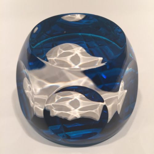 Vintage Cristal D'Albert Faceted Art Glass Paperweight Gustaf VI Adolf Sulphide