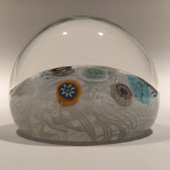 Vintage Strathearn Art Glass Paperweight Spaced Millefiori on Upset Muslin