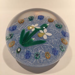 Signed Peter Holmes Selkirk Art Glass Paperweight Daffodils & millefiori