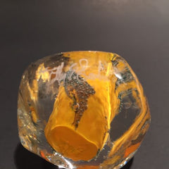 Signed Modern American Studio Art Glass Paperweight Orange Bubble Design