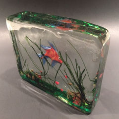 Vintage Murano Art Glass Paperweight Lampworked Fish Aquarium
