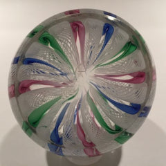 Vintage Murano Art Glass Paperweight Pink Blue Green Twist White Latticino Crown