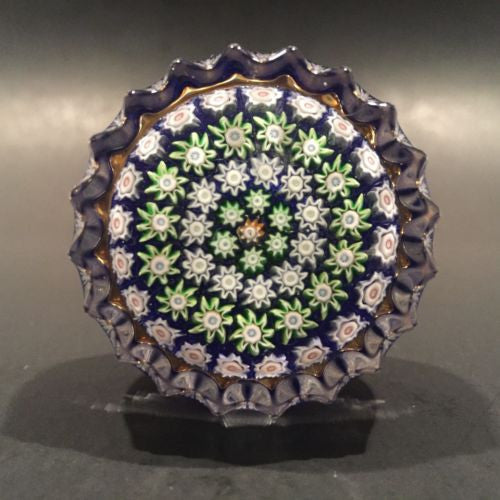 Vintage Perthshire Art Glass Millefiori Paperweight Drawer Pull Scalloped Edge
