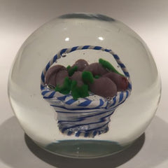 Vintage Murano Art Glass Paperweight Encased Latticino Basket Of Eggplants