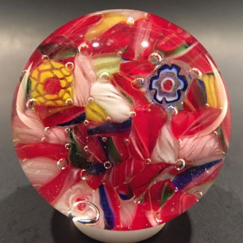 Vintage Chinese Art Glass Paperweight End Of Day Scramble