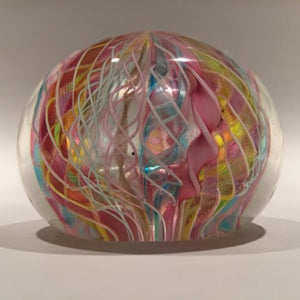 Vintage Murano Art Glass Paperweight Colorful Latticino Crown