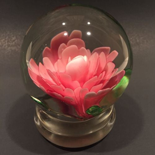 Early Chinese Art Glass Paperweight Footed Pink Crimp Rose Style Peony