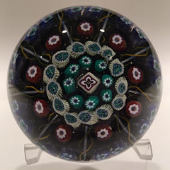 Vintage Strathearn Art Glass Paperweight Doorknob Twists & Millefiori On Black