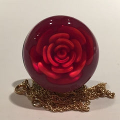 Rare Ronald Ray Art Glass Paperweight Crimp Rose Pendant W/ 14K Gold Chain