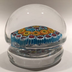 Vintage Murano Large Footed Art Glass Paperweight Concentric Millefiori