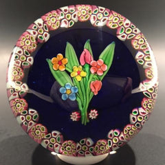 Vintage Paul Ysart Art Glass Paperweight lamp worked bouquet millefiori Garland