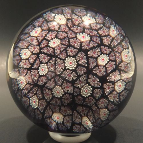 Vintage Murano Art Glass Paperweight Closepacked Complex Millefiori