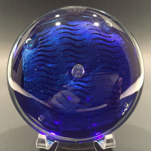 Signed John Cook American Studio Art Glass Paperweight Blue Dichroic Disk