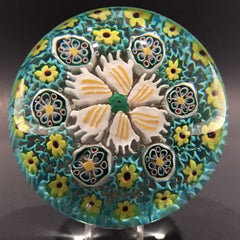 Vintage Murano Art Glass Paperweight Complex Millefiori With Flower Center