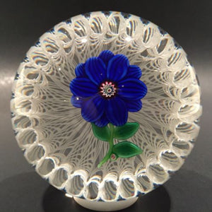 Large Paul Ysart Art Glass Paperweight Lampworked Flower in Stave Basket