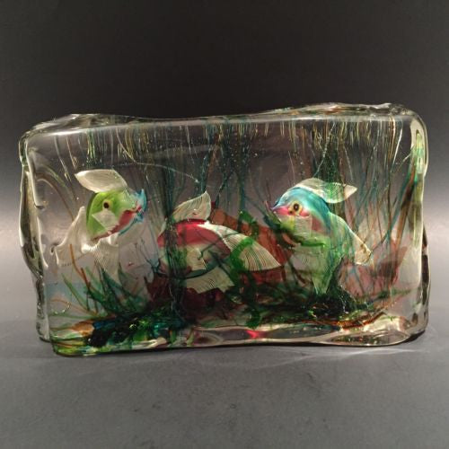Huge Vintage Murano Cenedese Art Glass Paperweight Fish Aquarium Block Sculpture