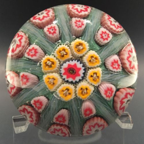 Vintage Strathearn Art Glass Paperweight Doorknob Twists & Millefiori On Green