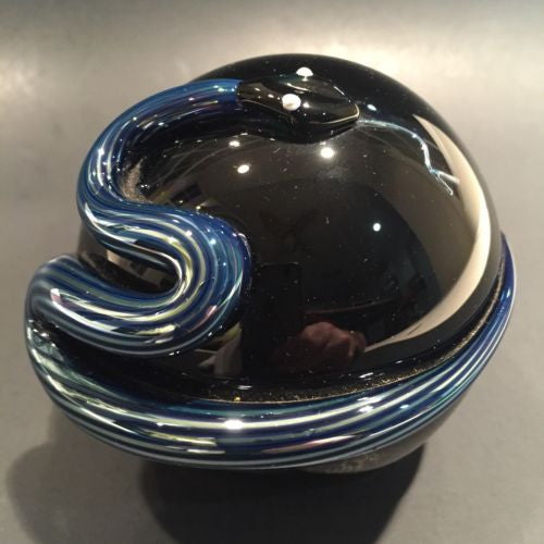 Signed Steven Correia Art Glass Metallic Coiled 3d Snake Over Black