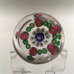 Miniature Clichy Art Glass Paperweight a Concentric Millefiori With Rose Canes
