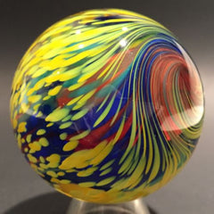 Signed Mark Matthews Art Glass Marble Handmade Modern Onionskin