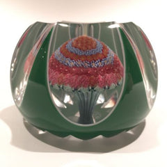 Vintage Baccarat Art Glass Paperweight Fancy Cut Overlaid Millefiori Mushroom
