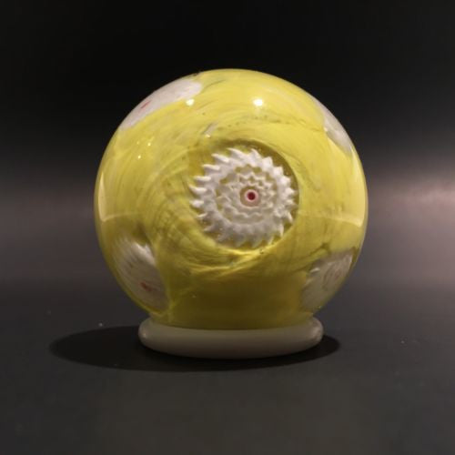 Vintage Miniature Murano Art Glass Paperweight Ruffled Millefiori on Yellow