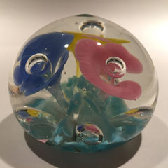 Vintage American Studio Art Glass Paperweight Colorful Trumpet Flowers
