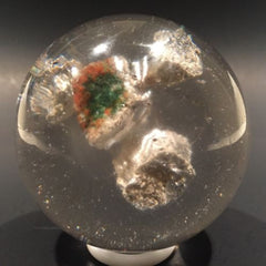 Antique Art Glass Paperweight Encased Rocks Mossy Lichen Stones