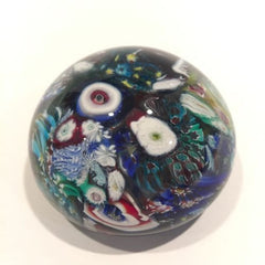 Vintage Murano Art Glass Paperweight Millefiori Scramble Daisy & Rose Canes