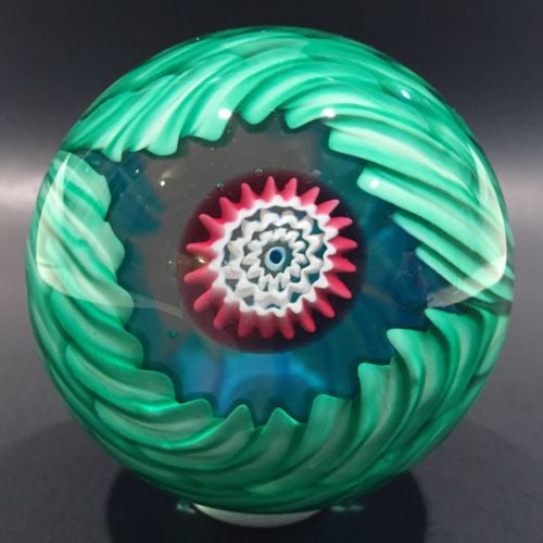 Vintage Fratelli Toso Murano Art Glass Paperweight Blue & Green Crown