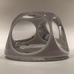 Vintage Baccarat Art Glass Paperweight Robert E Lee large Sulphide Gray Overlay