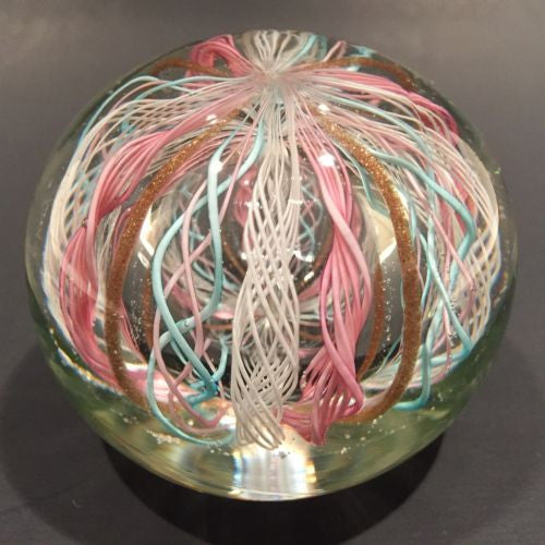 Vintage Murano Art Glass Paperweight Pastel Latticino Aventurine Crown