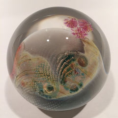 Unusual Josh Simpson Art Glass Paperweight Complex Inhabited Planet