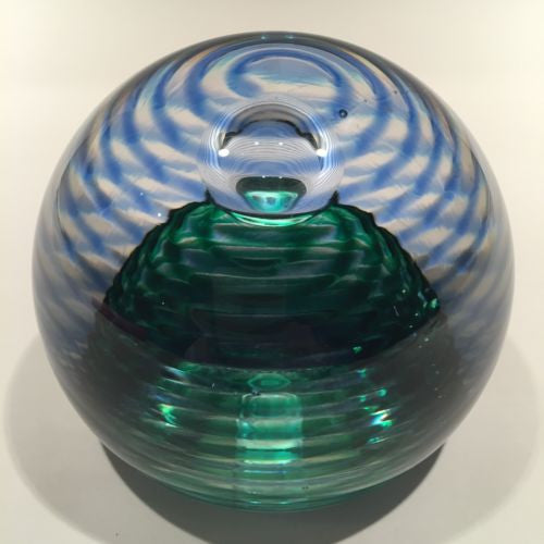 Modern High Quality Art Glass Paperweight Shelled Spirals With Control Bubble