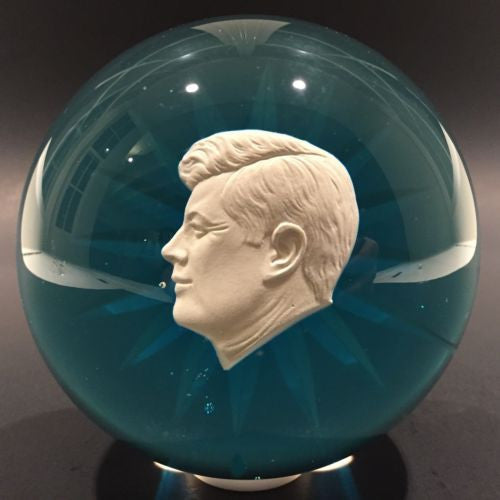 Vintage Art Glass Paperweight JFK Kennedy Sulphide On Blue Star Cut Base