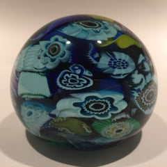 Vintage Murano Blue Art Glass Paperweight End of Day Millefiori Scramble