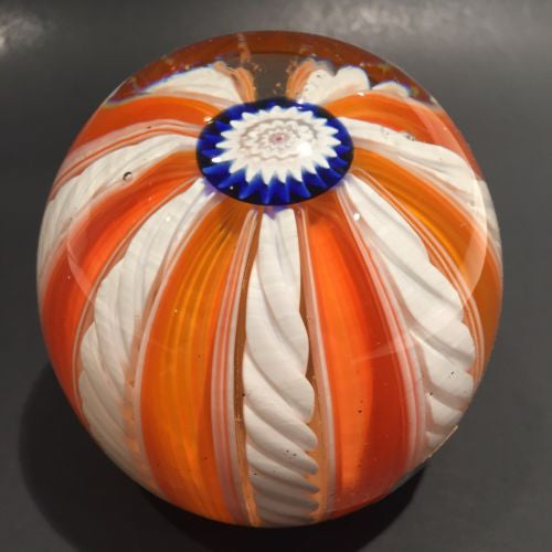 Vintage Fratelli Toso Murano Art Glass Paperweight Millefiori Orange White Crown