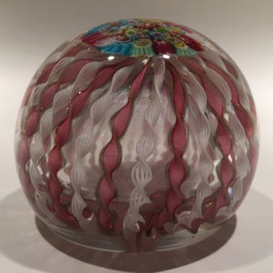 Vintage Murano Art Glass Paperweight Pink Millefiori Crown