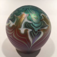 Early Vandermark Merrit Art Glass Paperweight Iridescent Art Nouveau Style