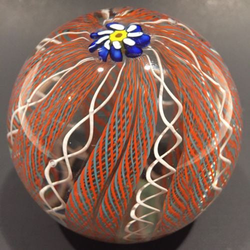 Vintage Murano Art Glass Paperweight Daisy Millefiori Latticino Twist Crown
