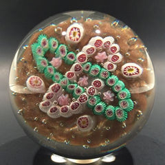 Vintage Murano Art Glass Paperweight Complex Millefiori Garland on Aventurine
