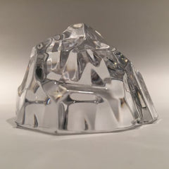 Vintage Val St Lambert Art Glass Paperweight Faceted Crystal Mountain Sculpture